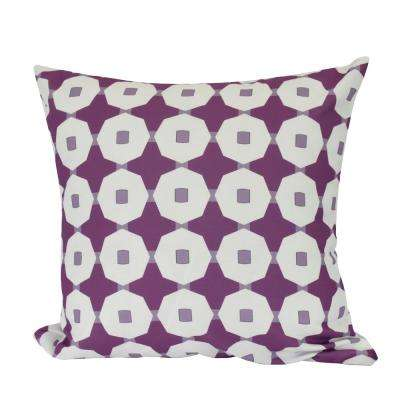 26 in. Button Up Geometric Print Decorative Pillow