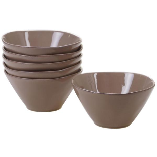 Harmony 6-Piece Taupe 6.25 in. x 3 in. Ice Cream Bowl Set