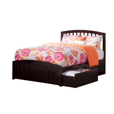 Richmond Espresso Full Platform Bed with Matching Foot Board with 2-Urban Bed Drawers