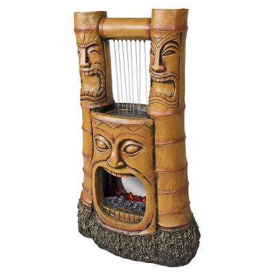 Tiki Gods of Fire and Water Stone Bonded Resin Garden Fountain