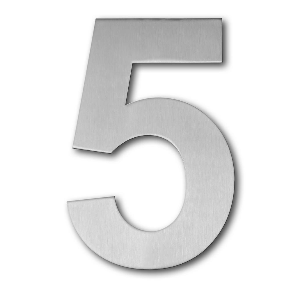 Brushed stainless steel floating modern house number 5