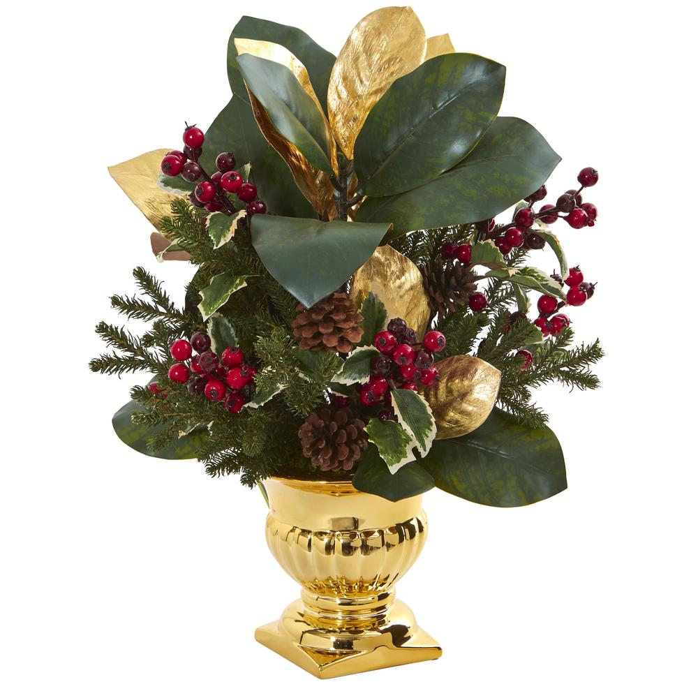 Nearly Natural Indoor 20 In Magnolia Leaf Holly Berry Artificial