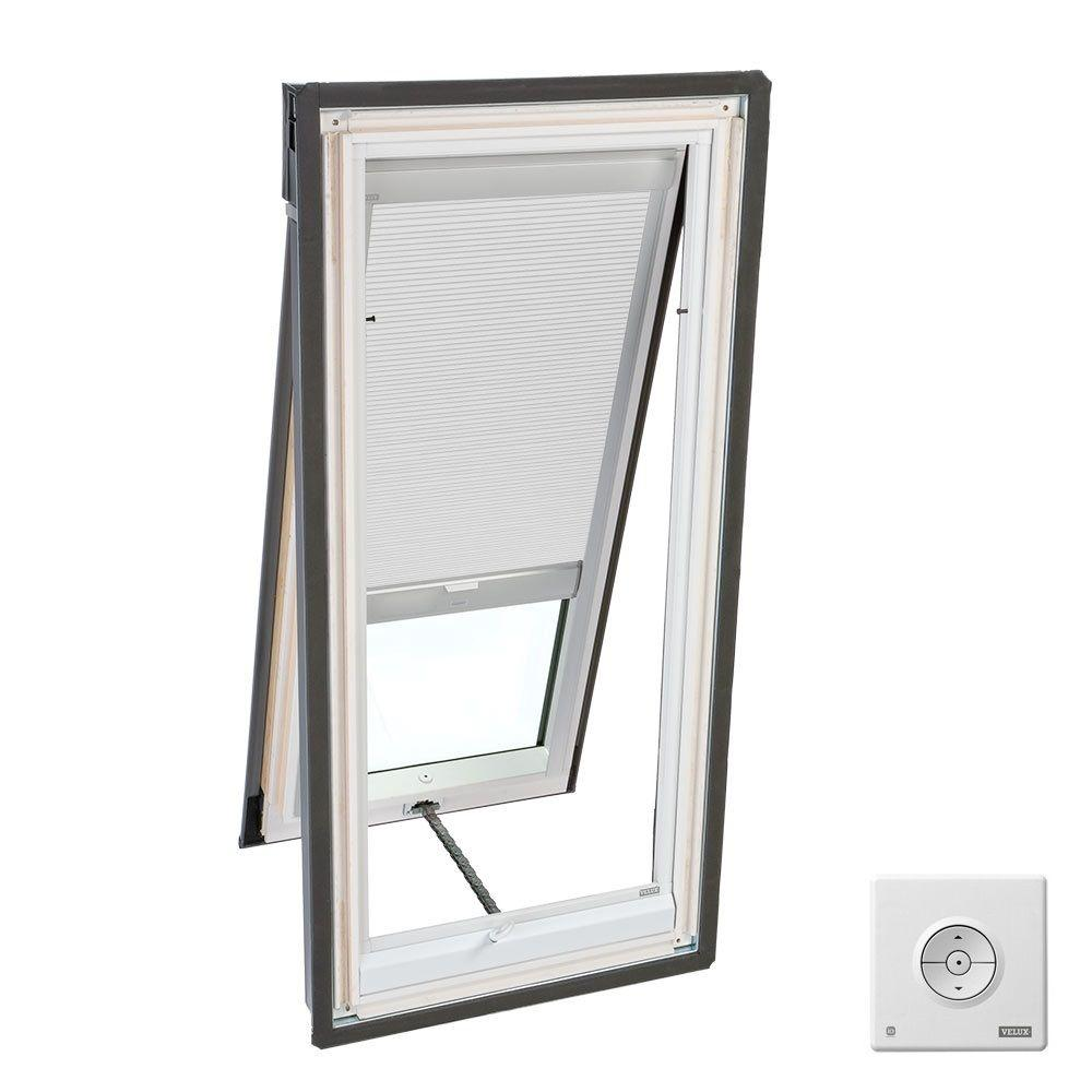 Velux solar powered room darkening white skylight blinds for Velux solar powered blinds