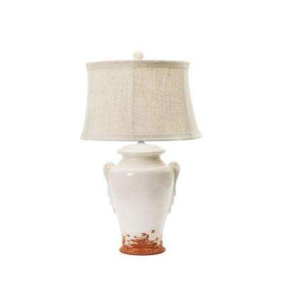 28 in. Eggshell with Terracotta Ceramic Table Lamp