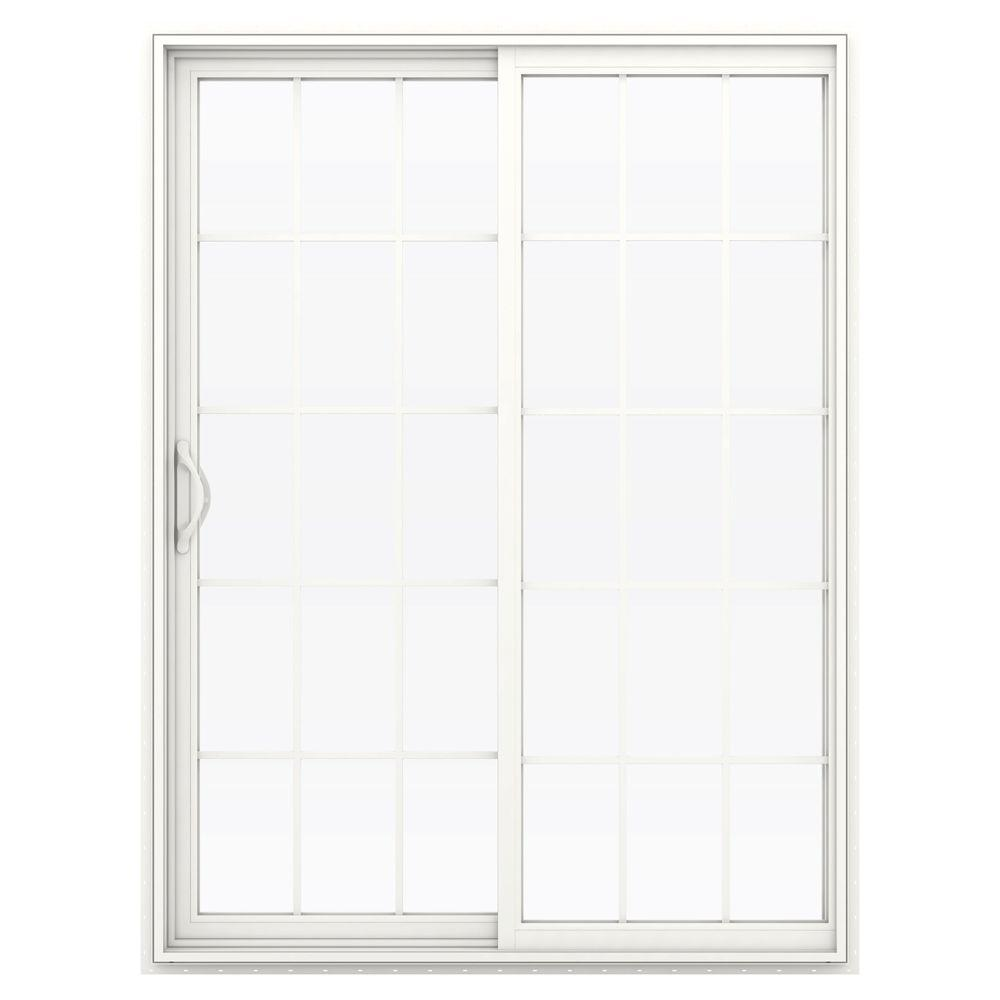 Jeld wen 60 in x 80 in v 2500 white vinyl left hand 15 for White sliding patio doors