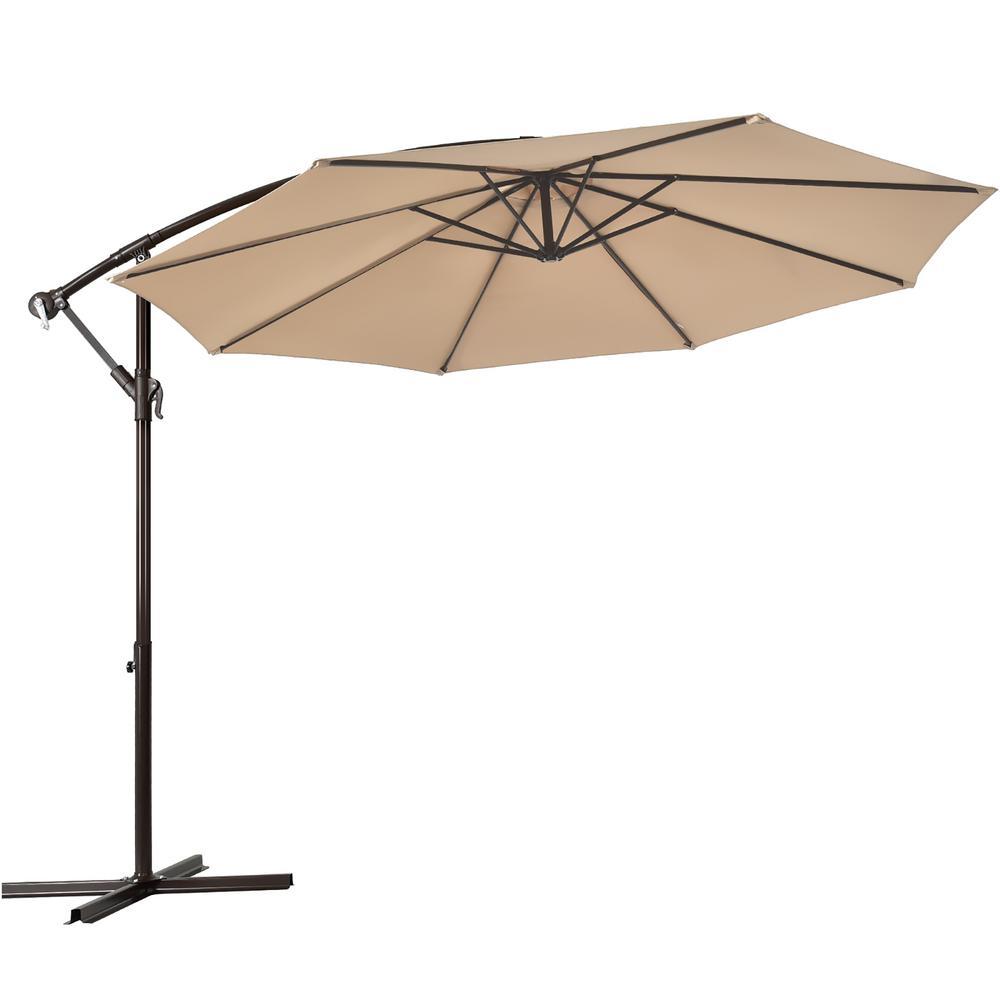 10 ft. Iron Cantilever Solar Tilt Patio Umbrella in Beige