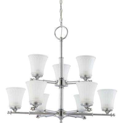 9-Light Polished Chrome 2-Tier Chandelier with Frosted Etched Glass Shade