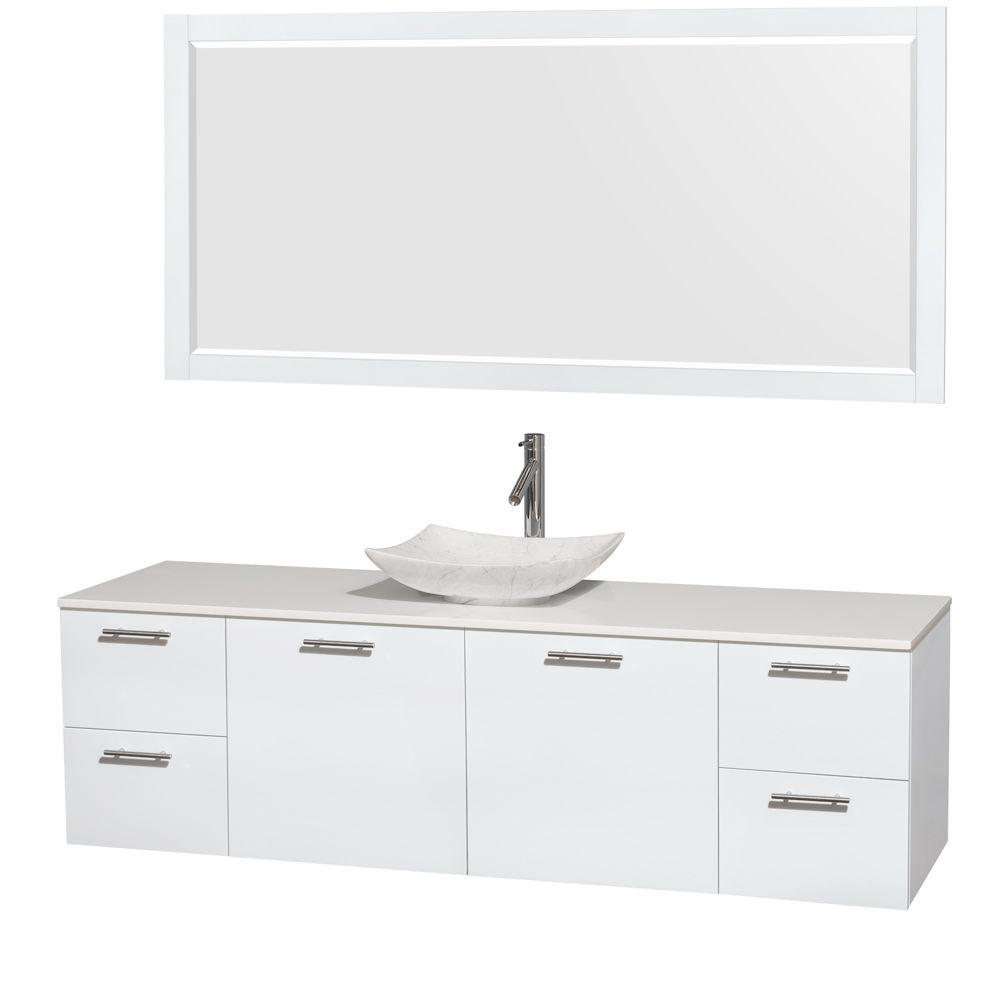 Wyndham Collection Amare 72 in. Vanity in Glossy White with Solid-Surface Vanity Top in White, Carrara Marble Sink and 70 in. Mirror