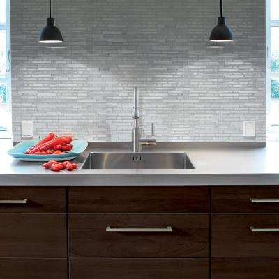 Bellagio Marmo Approximately 3 in. W x 3 in. H Gray and White Decorative Mosaic Wall Tile Backsplash Sample