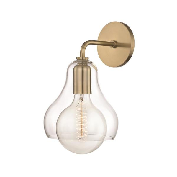 Sadie 1-Light Aged Brass Large Wall Sconce with Clear Glass