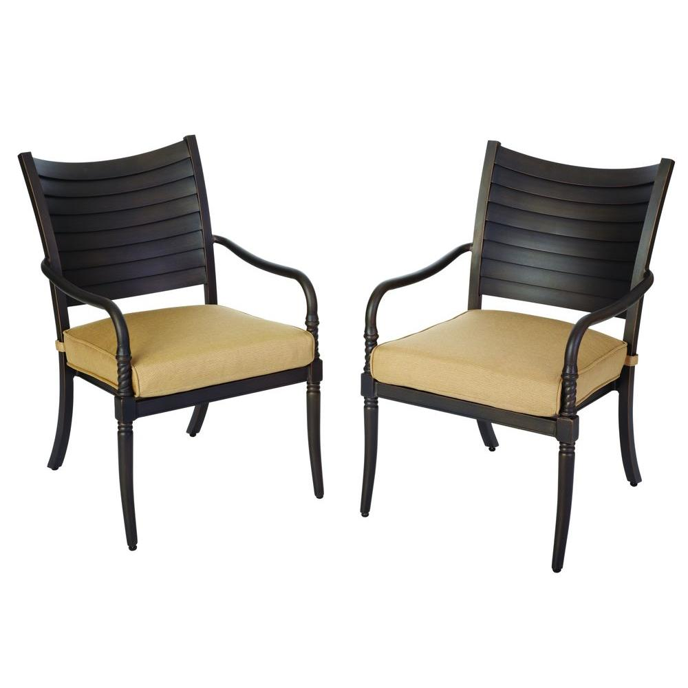 Hampton Bay Madison Patio Dining Chairs with Textured Golden Wheat Cushions (2-Pack)-DISCONTINUED