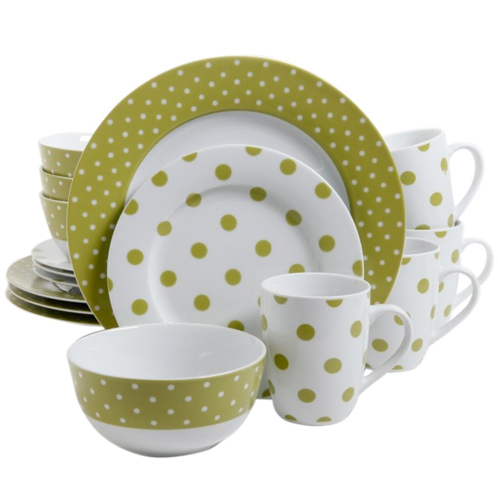 Dot Luxe 16-Piece Green Chartreuse Porcelain Dinnerware Set
