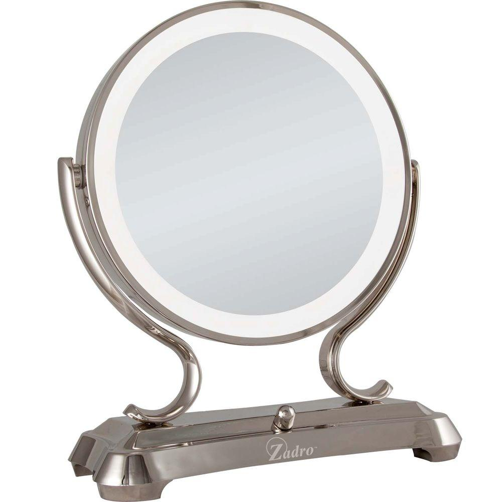 D Dual Sided Lighted Fluorescent Glamour Mirror In Polished Nickel GLA75    The Home Depot