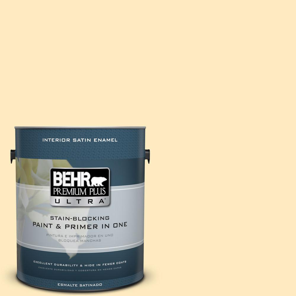 1 gal. #350A-3 Pale Sunshine Satin Enamel Interior Paint and Primer