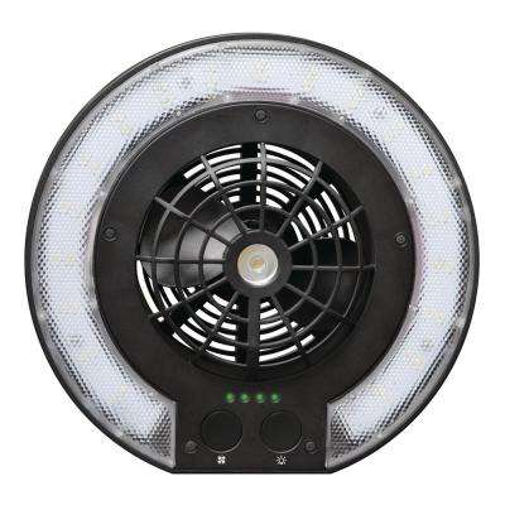 3-in-1 Black Multifunctional Outdoor Disc Fan Light Combo