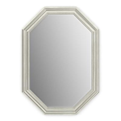 33 in. W x 46 in. H (L3) Framed Octagon Deluxe Glass Bathroom Vanity Mirror in Vintage Nickel