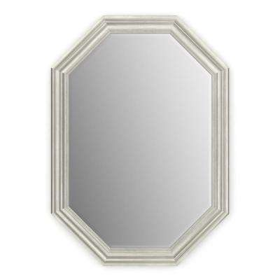 33 in. x 46 in. (L3) Octagonal Framed Mirror with Deluxe Glass and Float Mount Hardware in Vintage Nickel