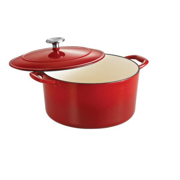 Gourmet 6.5 qt. Round Porcelain-Enameled Cast Iron Dutch Oven in Gradated Red with Lid