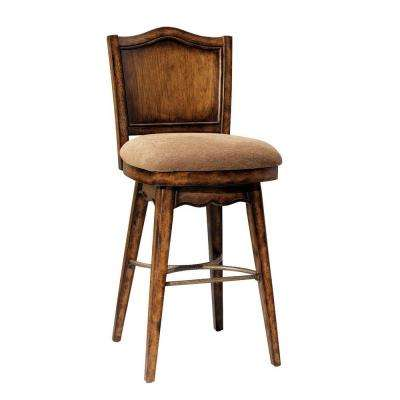 Bourbon Street 31 in. Yorktown Cherry Swivel Cushioned Bar Stool