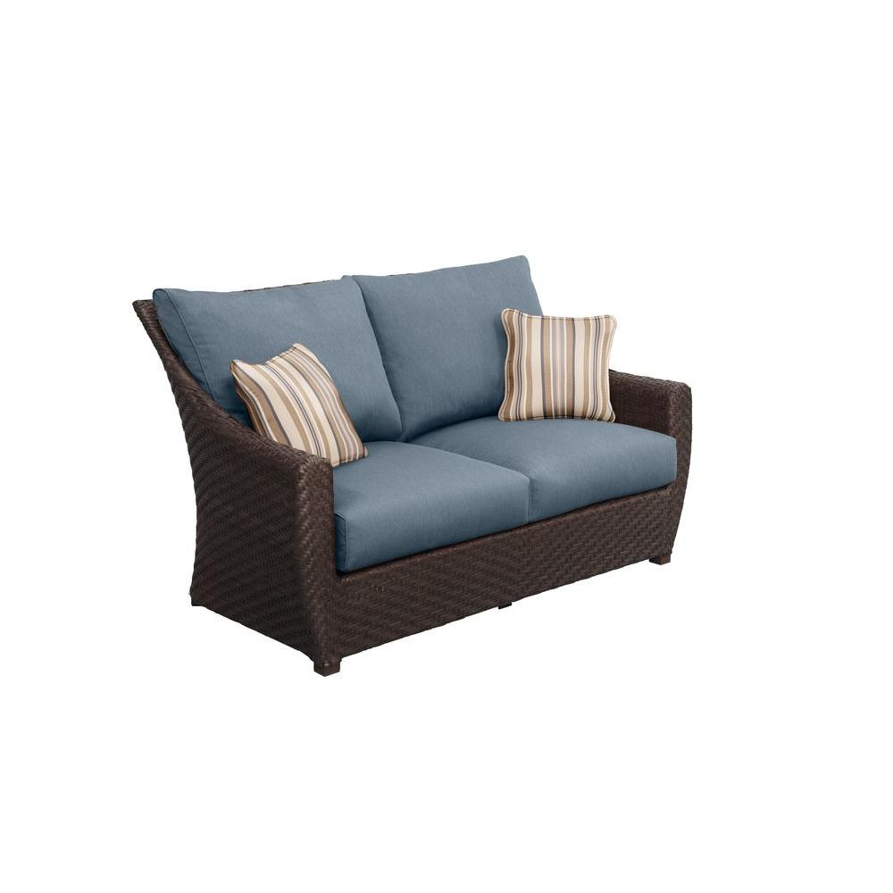 Highland Patio Loveseat with Denim Cushions and Terrace Lane Throw Pillows