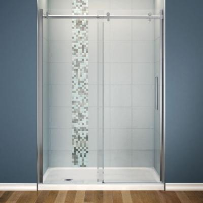 Halo 30 in. x 60 in. x 81-3/4 in. Frameless Sliding Shower Kit with Left Drain Base in White