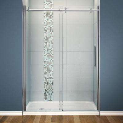 Halo 30 in. x 60 in. x 81-3/4 in. Frameless Shower Door with White Base Left Drain