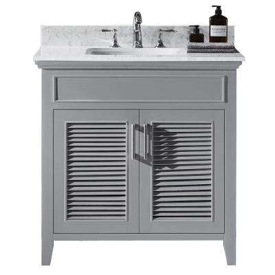 Elise 36 in. W x 22 in. D x 34.21 in. H Bath Vanity in Taupe Grey with Marble Vanity Top in White with White Basin