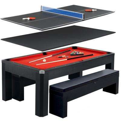 Park Avenue 7 ft. Pool Table Tennis Combination with Dining Top, 2 Storage Benches and Free Accessories