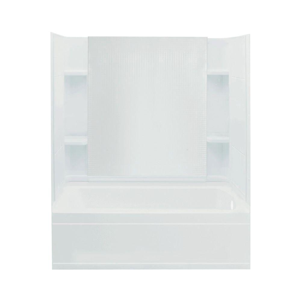 STERLING Accord 32 in. x 60 in. x 76 in. Four Piece Direct-to-Stud Bath/Shower Kit with Right Hand Drain in White-DISCONTINUED