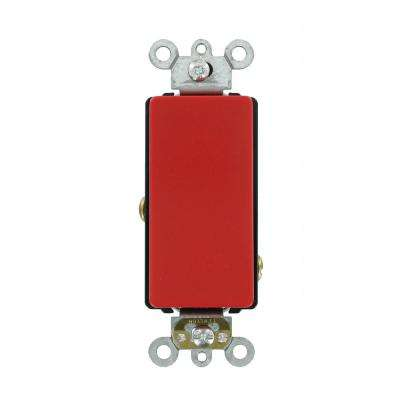 Decora Plus 20 Amp 120/277-Volt Antimicrobial Treated Single-Pole Rocker Switch, Red