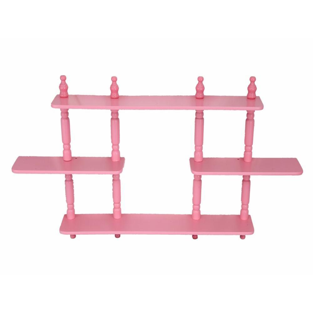 Homecraft Furniture 17.7 in. x 3.54 in. 3-Tier Pink Kid\'s Wall ...