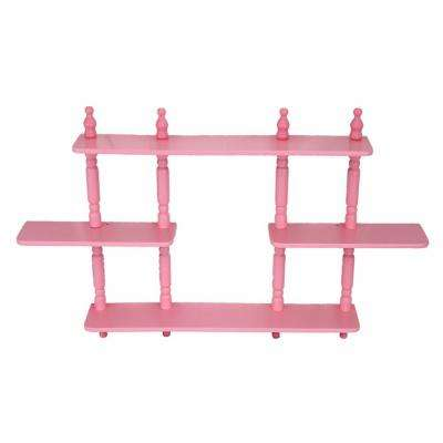 17.7 in. x 3.54 in. 3-Tier Pink Kid's Wall Shelves