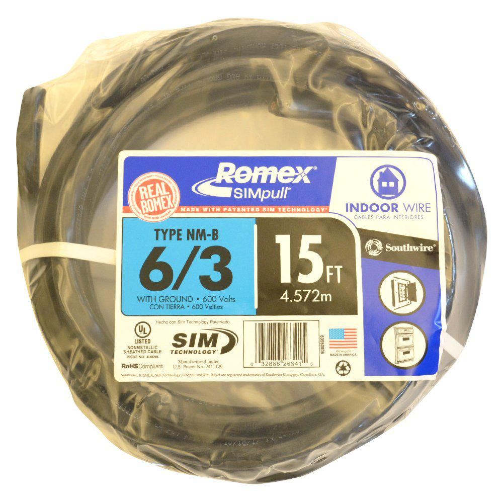6 2 Building Wire The Home Depot 125 Ft 8 3 Black Solid Simpull Nmb W G 15 Stranded Romex Cu Nm B