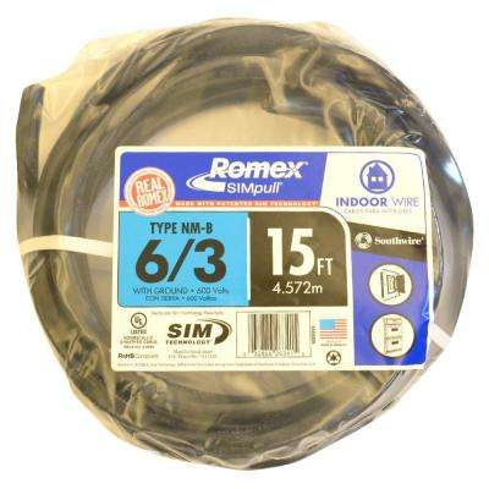 15 ft. 6/3 Stranded Romex SIMpull CU NM-B W/G Wire