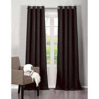 Blackout Quincy 84 in. L Extra Width Grommet Panel in Black