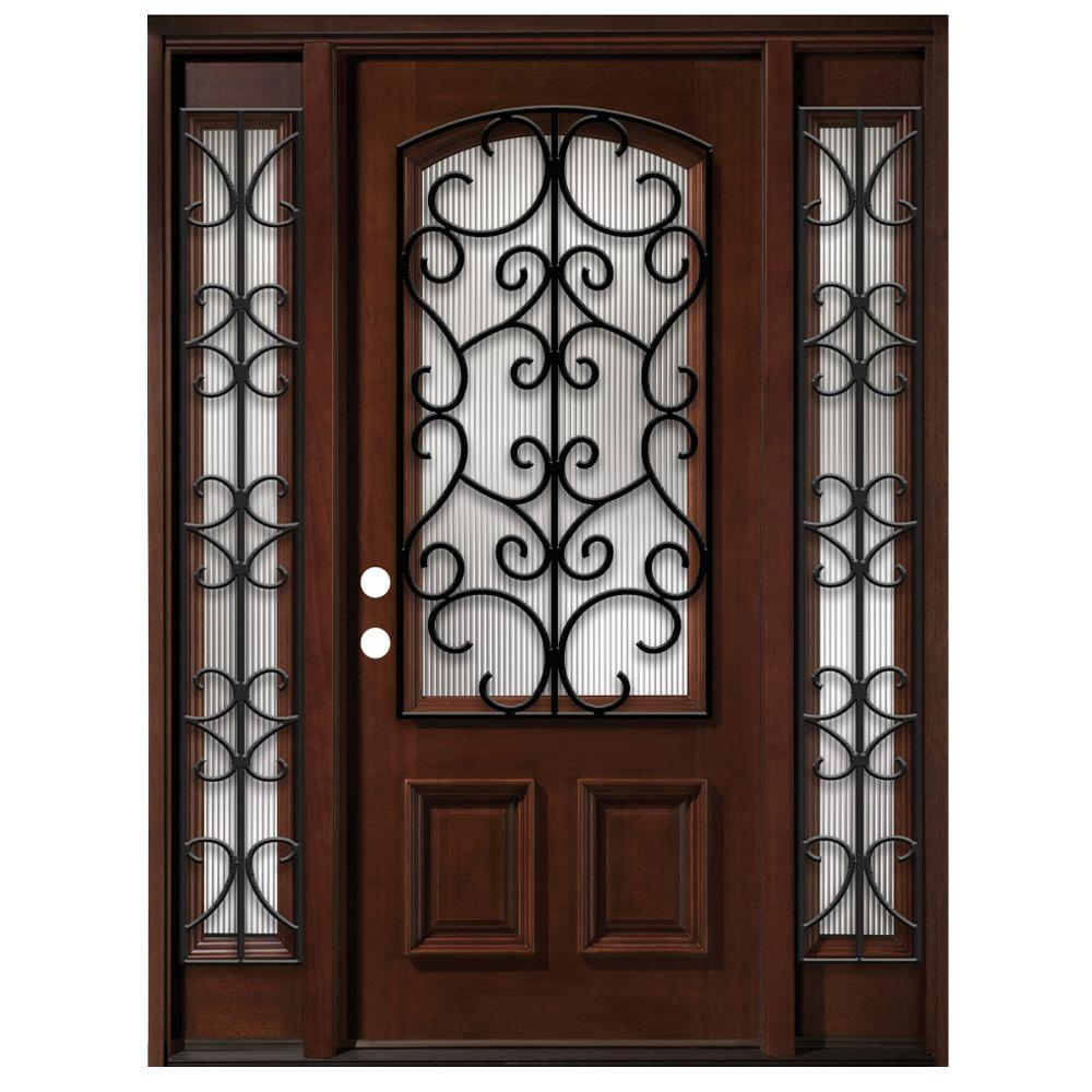 Steves & Sons 68 in. x 80 in. Iron Grille 3/4- Arch Lite Stained Mahogany Wood with Sidelites