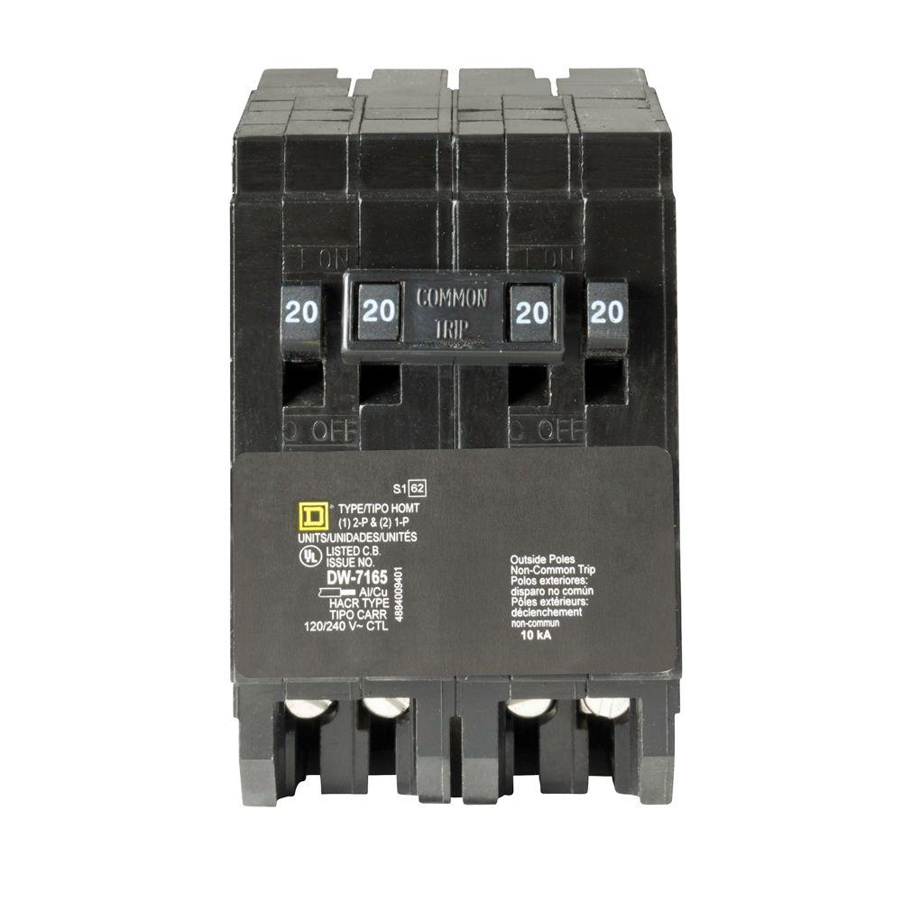Square D Homeline 2 20 Amp Single Pole 1 20 Amp 2 Pole Quad Tandem Circuit Breaker Homt2020220cp The Home Depot