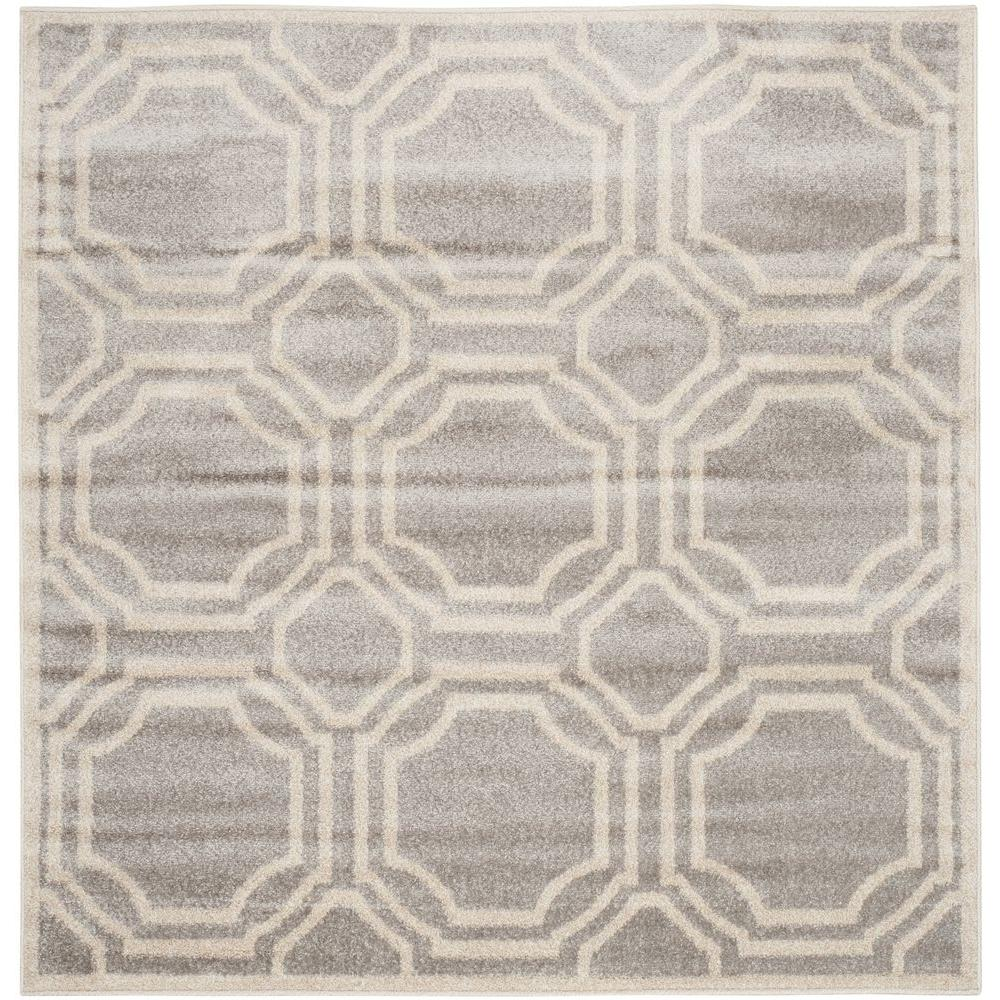 Safavieh Amherst Light Grey/Ivory 7 ft. x 7 ft. Square Indoor/Outdoor Area Rug