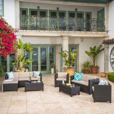 Puerta Brown 9-Piece Wicker Outdoor Sectional Set with Beige Cushions