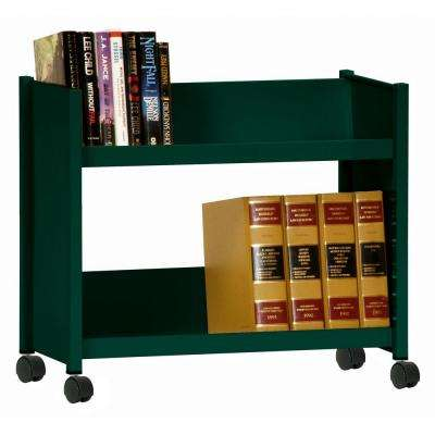 2-Sloped Shelf Welded Booktruck in Forest Green