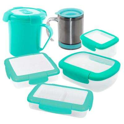 6-Piece Food Storage Container Assorted Pack in Aqua