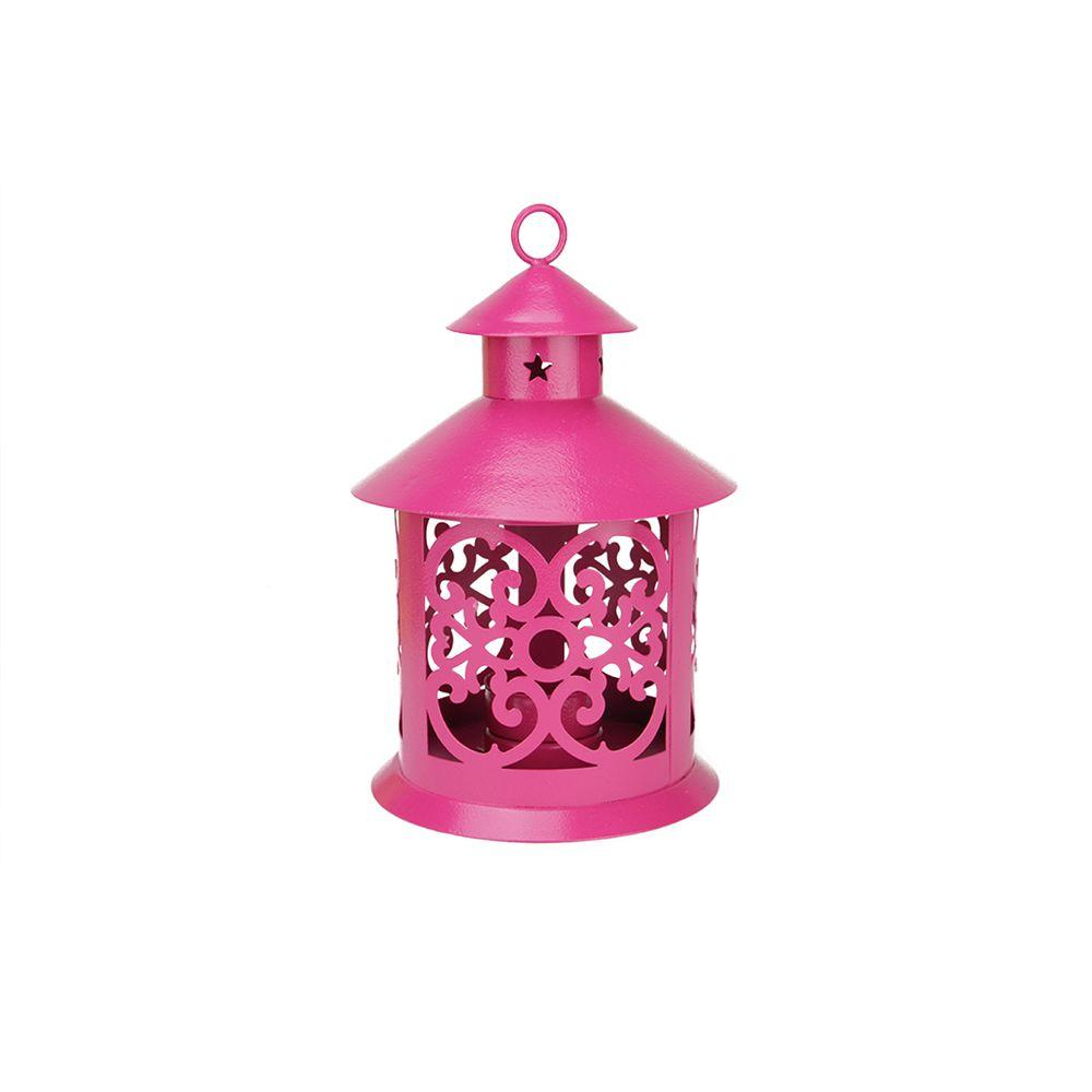 8 in. Shiny Pink Votive or Tealight Candle Holder Lantern with