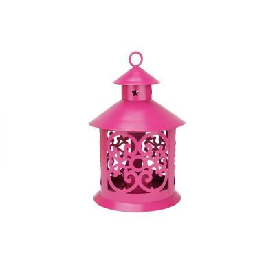 8 in. Shiny Pink Votive or Tealight Candle Holder Lantern with Star and Scroll Cutouts