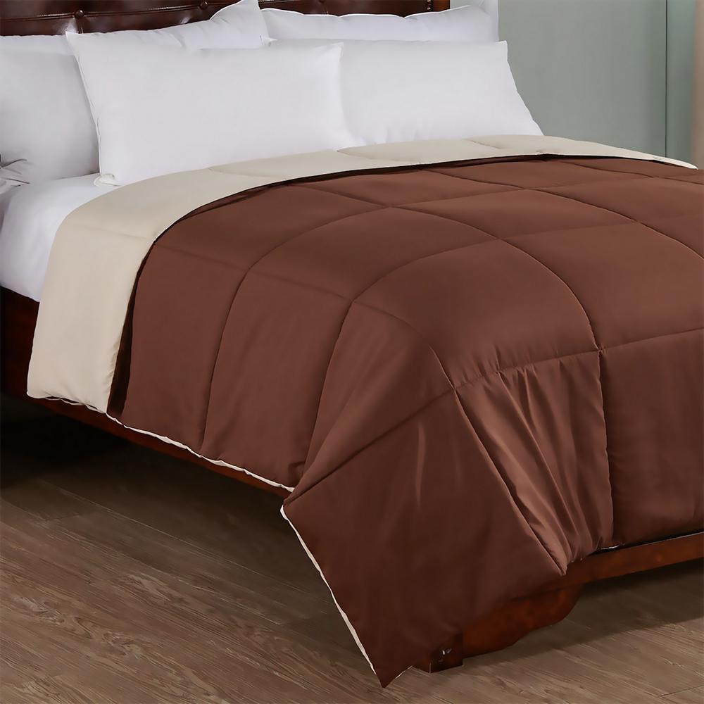 Reversible Brown/Tan King Lightweight Down Alternative Comforter