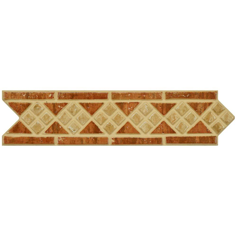 Merola Tile Intarsia Beige Rosso 2-1/2 in. x 10-3/16 in. Porcelain Listello Wall and Floor Trim Tile