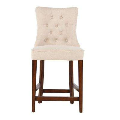 Rebecca 24 in. Natural Textured Cushioned Bar Stool