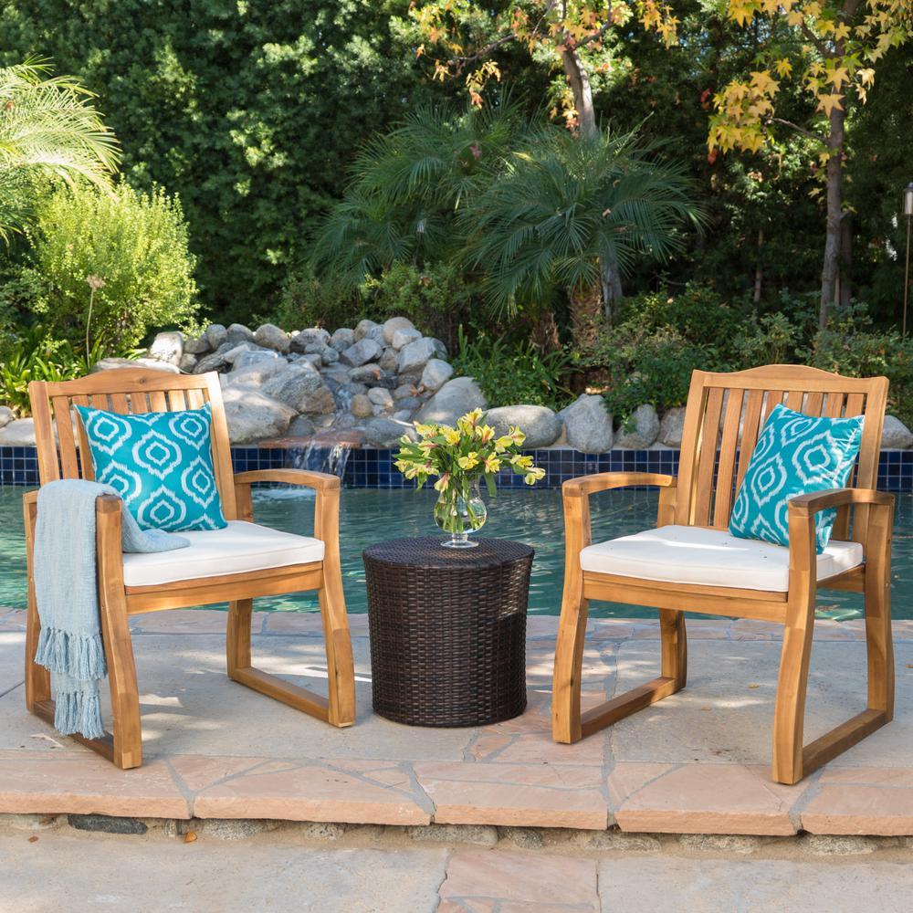 Braylen 3-Piece Wood Patio Conversation Set with Beige Cushions