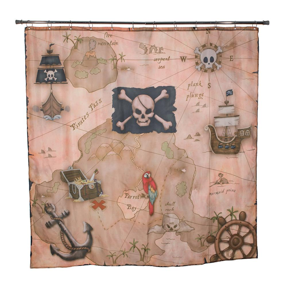 Pirateu0027s Treasure 72 In. Map Shower Curtain