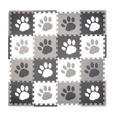 Grey Paw Print 50 in. x 50 in. Residential Play Mat