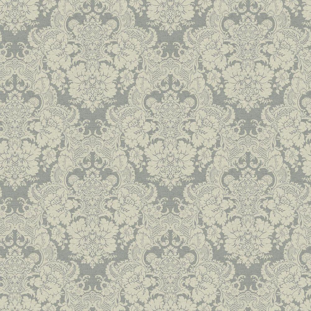 Black and White Document Damask Wallpaper